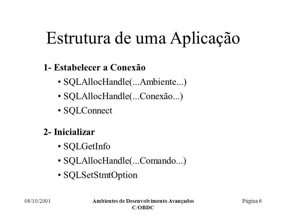 08/10/2001Ambientes de Desenvolvimento Avançados C/OBDC Página 6 Estrutura de uma Aplicação 1- Estabelecer a Conexão SQLAllocHandle(...Ambiente...) SQLAllocHandle(...Conexão...) SQLConnect 2- Inicializar SQLGetInfo SQLAllocHandle(...Comando...) SQLSetStmtOption