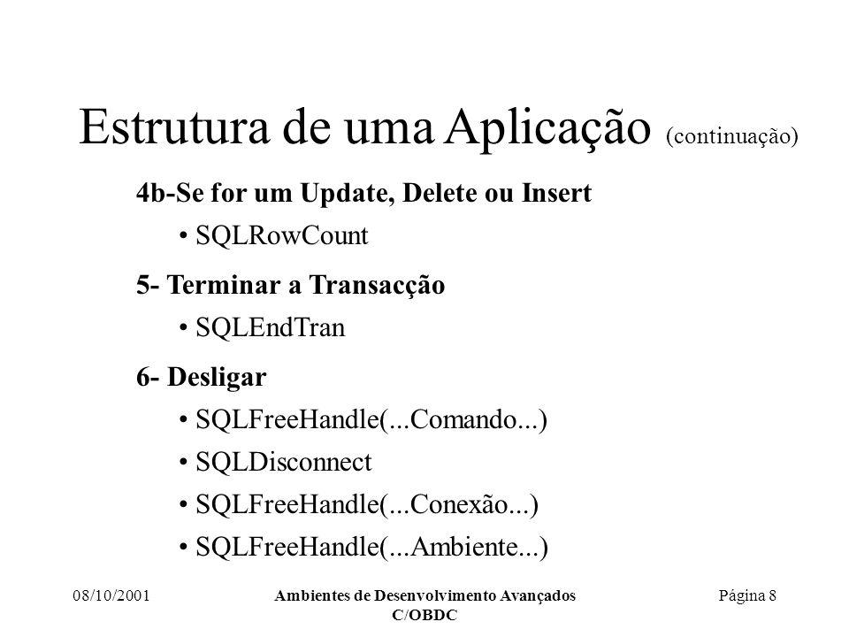 08/10/2001Ambientes de Desenvolvimento Avançados C/OBDC Página 9 API do ODBC Includes necessários Estabelecer a Conexão e Inicializar Executar um comando Recuperar os resultados Desligar