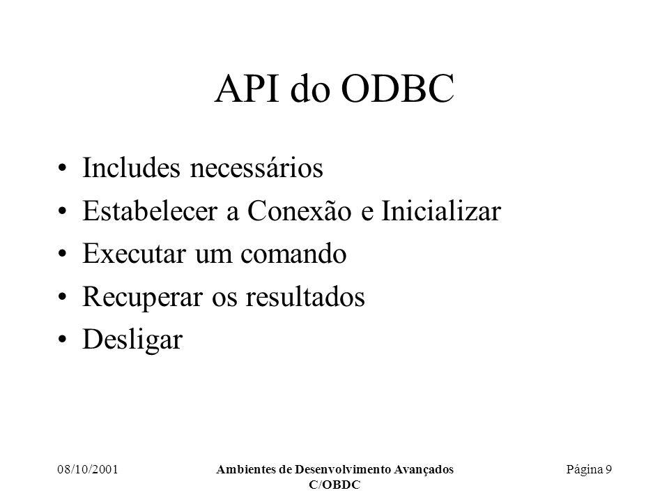 08/10/2001Ambientes de Desenvolvimento Avançados C/OBDC Página 10 API do ODBC Includes necessários #include