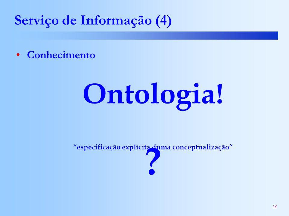 15 Serviço de Informação (4) Conhecimento ? Ontologia! especificação explícita duma conceptualização