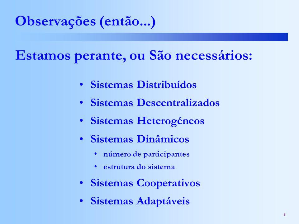 4 Observações (então...) Sistemas Distribuídos Sistemas Descentralizados Sistemas Heterogéneos Sistemas Dinâmicos número de participantes estrutura do