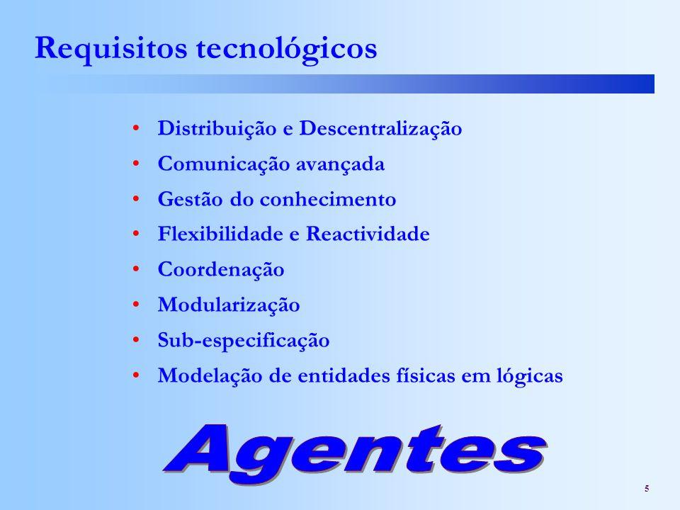 5 Requisitos tecnológicos Distribuição e Descentralização Comunicação avançada Gestão do conhecimento Flexibilidade e Reactividade Coordenação Modular