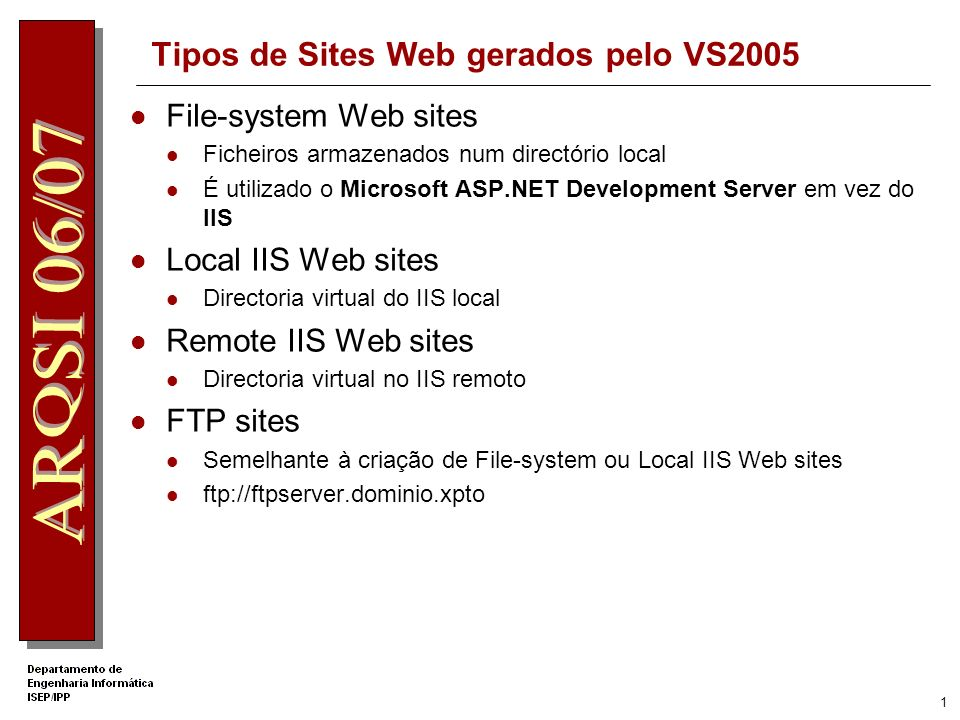 1 Tipos de Sites Web gerados pelo VS2005 File-system Web sites Ficheiros armazenados num directório local É utilizado o Microsoft ASP.NET Development Server em vez do IIS Local IIS Web sites Directoria virtual do IIS local Remote IIS Web sites Directoria virtual no IIS remoto FTP sites Semelhante à criação de File-system ou Local IIS Web sites ftp://ftpserver.dominio.xpto
