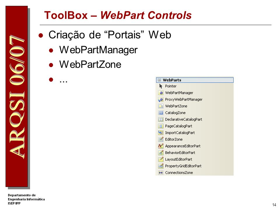 13 ToolBox – Login Controls Criação de interfaces de autenticação do utilizador Login ChangePassword PasswordRecovery...