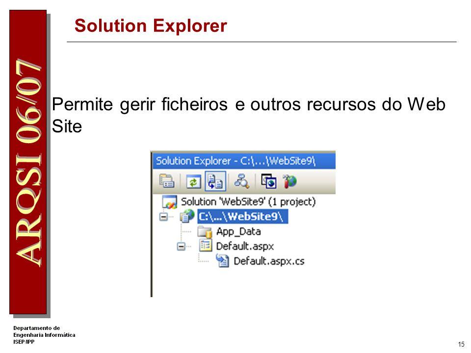 14 ToolBox – WebPart Controls Criação de Portais Web WebPartManager WebPartZone...