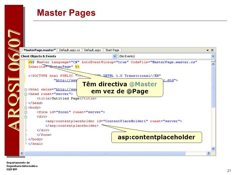 20 Master Pages São ficheiros ASP.NET com a extensão.master Definem layouts (código e conteúdo) reutilizáveis em diversas páginas web. Não são enviada