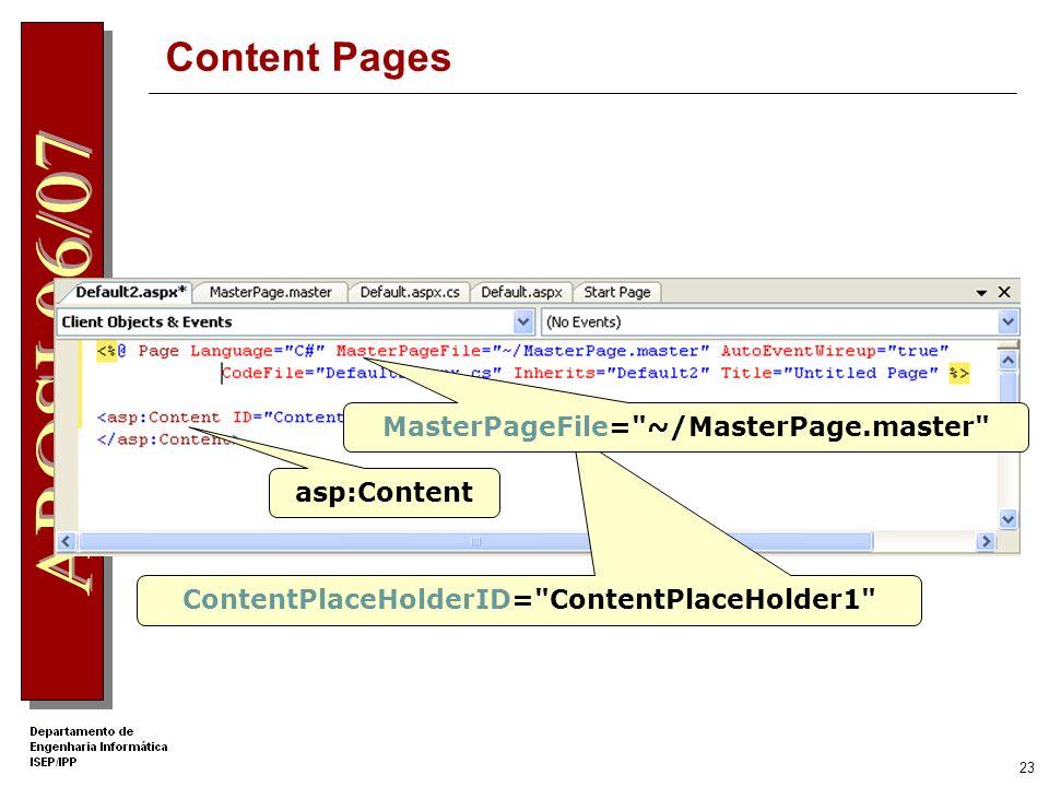 22 Content Pages São páginas Web que referenciam uma master page para: Obter um layout consistente para o site Reutilizar código Reutilizar conteúdo e controlos Incluem o seu próprio conteúdo especifico Este conteúdo especifico é aglutinado em tempo real com o da master page