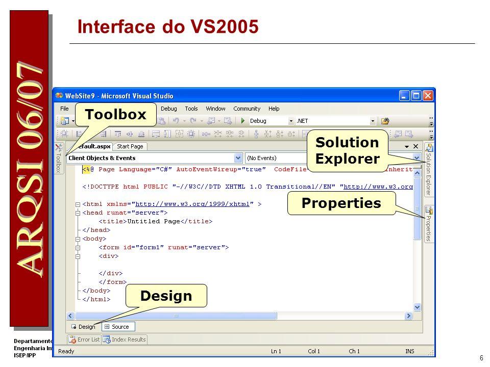 5 Criar uma Aplicação Web com o VS2005 Um Web Site C# em File System