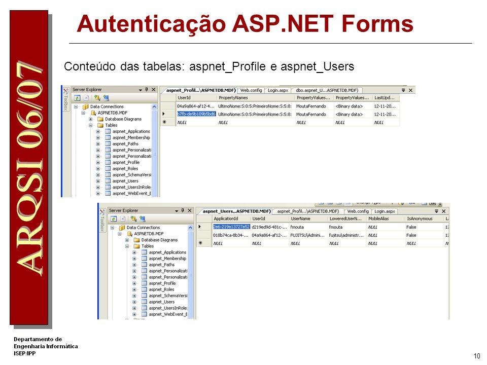 9 Autenticação ASP.NET Forms Como é negado o acesso a todos os utilizadores não autenticados, a aplicação redirige para a página Login.aspx Efectuando login usando o nome do utilizador criado, surge a página Default.aspx