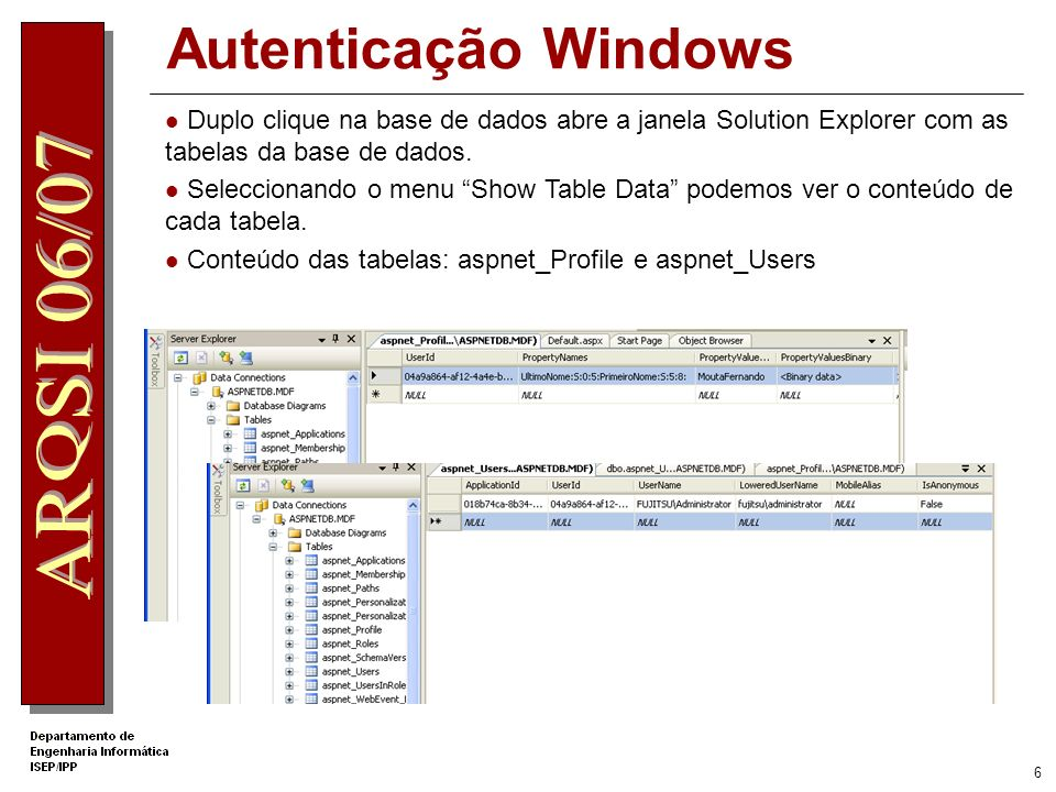 5 Uso do objecto Profile É necessário refrescar a listagem do projecto no Solution Explorer para ver a pasta App_Data criada e o ficheiro de base de dados ASPNET.MDF
