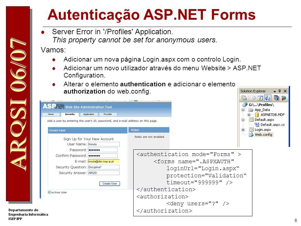 8 Autenticação ASP.NET Forms Server Error in /Profiles Application.