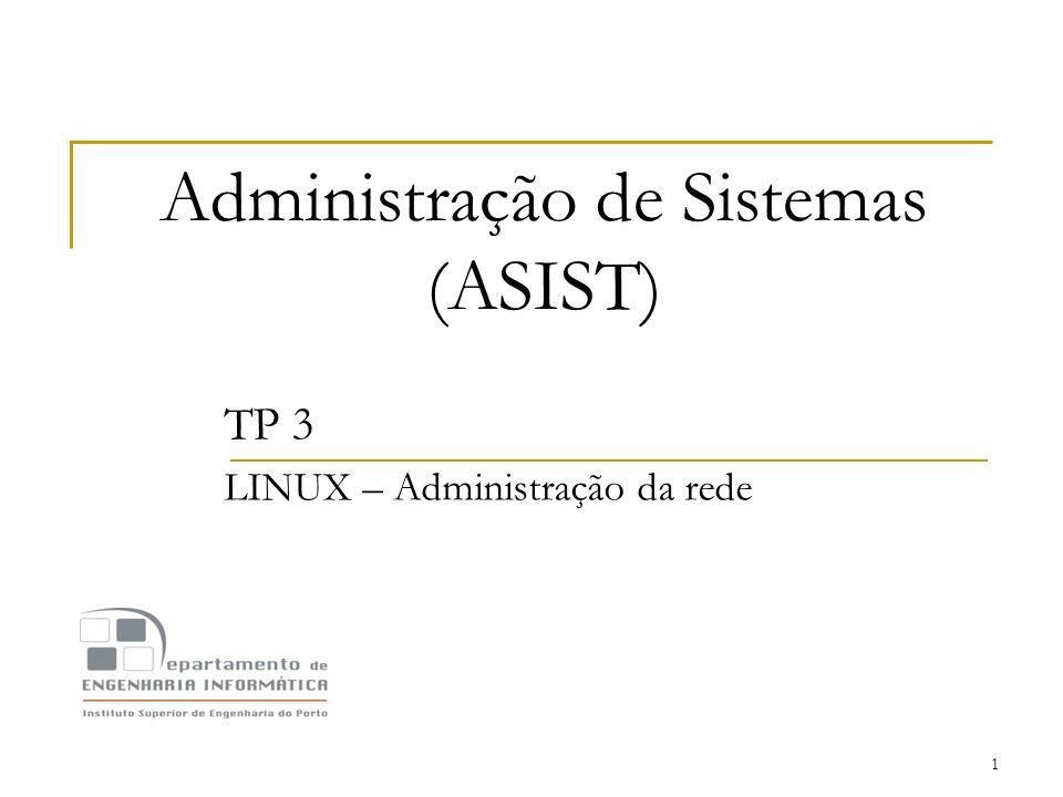 1 Administração de Sistemas (ASIST) TP 3 LINUX – Administração da rede