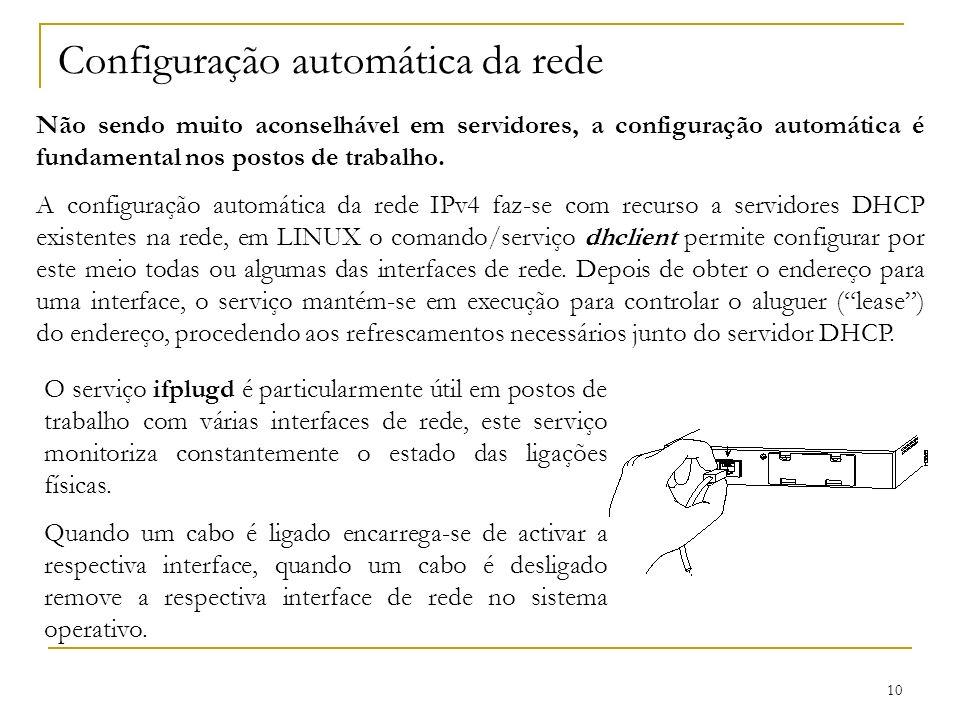 10 Configuração automática da rede Não sendo muito aconselhável em servidores, a configuração automática é fundamental nos postos de trabalho. A confi