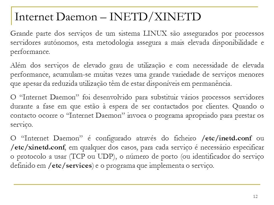 12 Internet Daemon – INETD/XINETD Grande parte dos serviços de um sistema LINUX são assegurados por processos servidores autónomos, esta metodologia a