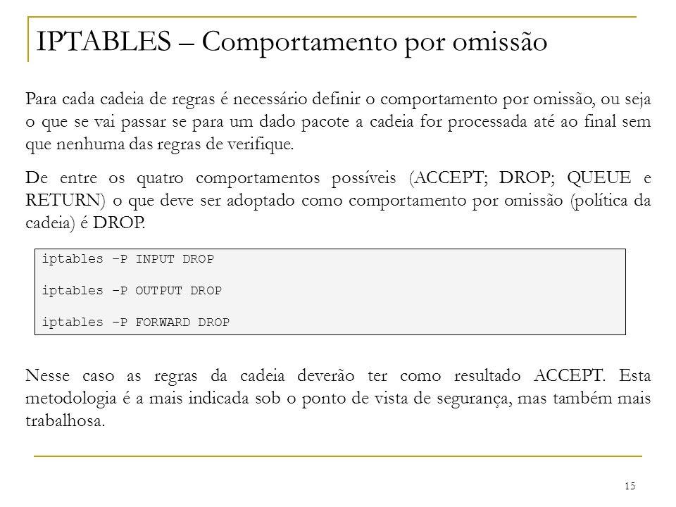 15 IPTABLES – Comportamento por omissão Para cada cadeia de regras é necessário definir o comportamento por omissão, ou seja o que se vai passar se pa