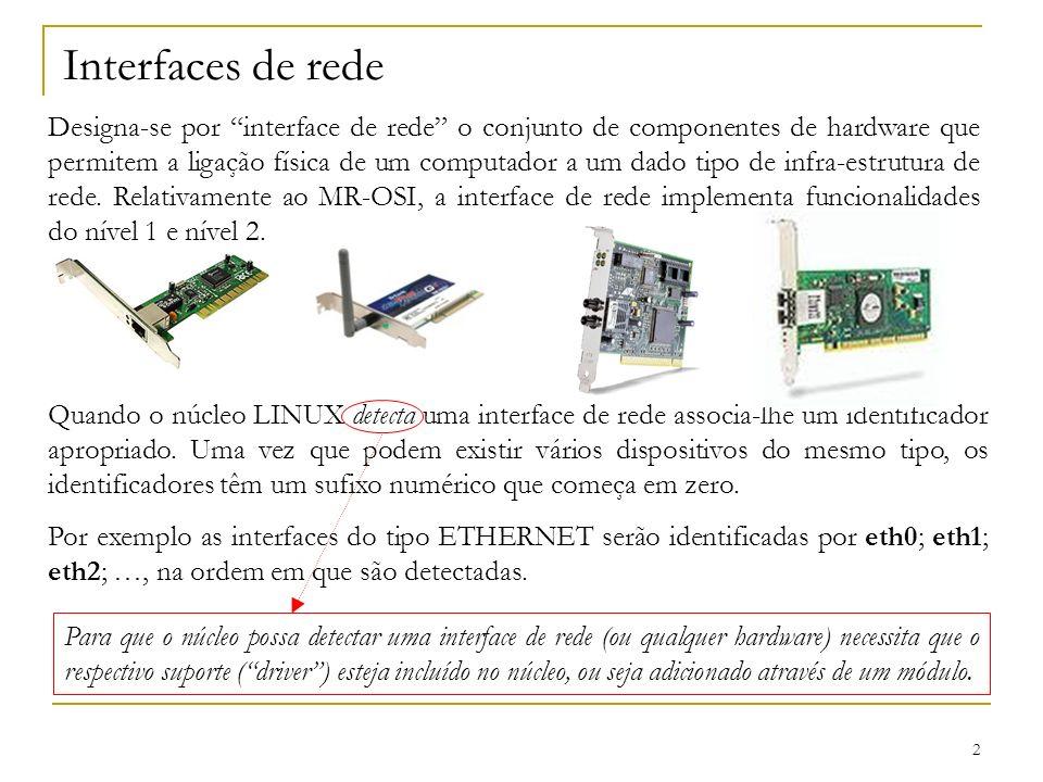 2 Interfaces de rede Designa-se por interface de rede o conjunto de componentes de hardware que permitem a ligação física de um computador a um dado t