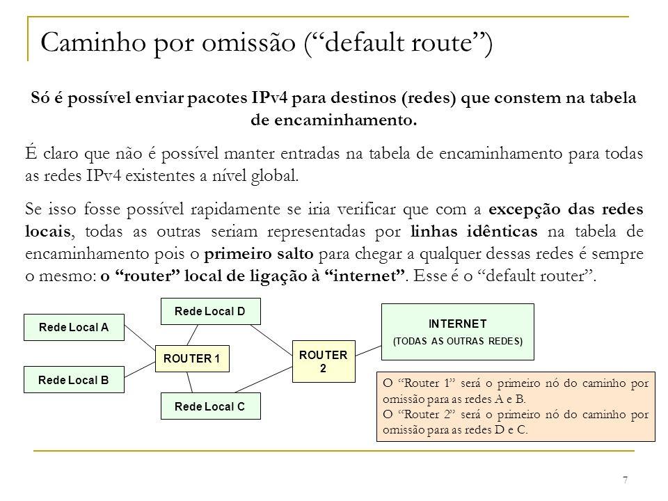 7 Caminho por omissão (default route) Só é possível enviar pacotes IPv4 para destinos (redes) que constem na tabela de encaminhamento. É claro que não