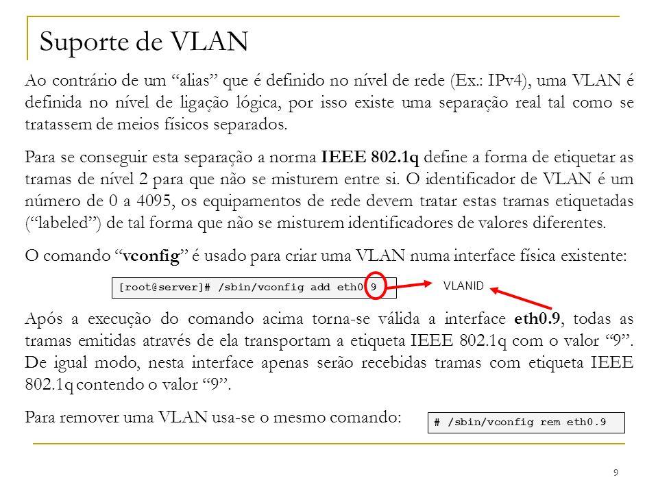 9 Suporte de VLAN Ao contrário de um alias que é definido no nível de rede (Ex.: IPv4), uma VLAN é definida no nível de ligação lógica, por isso exist