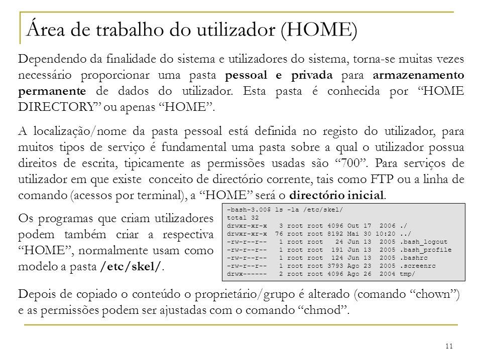 11 Área de trabalho do utilizador (HOME) Dependendo da finalidade do sistema e utilizadores do sistema, torna-se muitas vezes necessário proporcionar uma pasta pessoal e privada para armazenamento permanente de dados do utilizador.