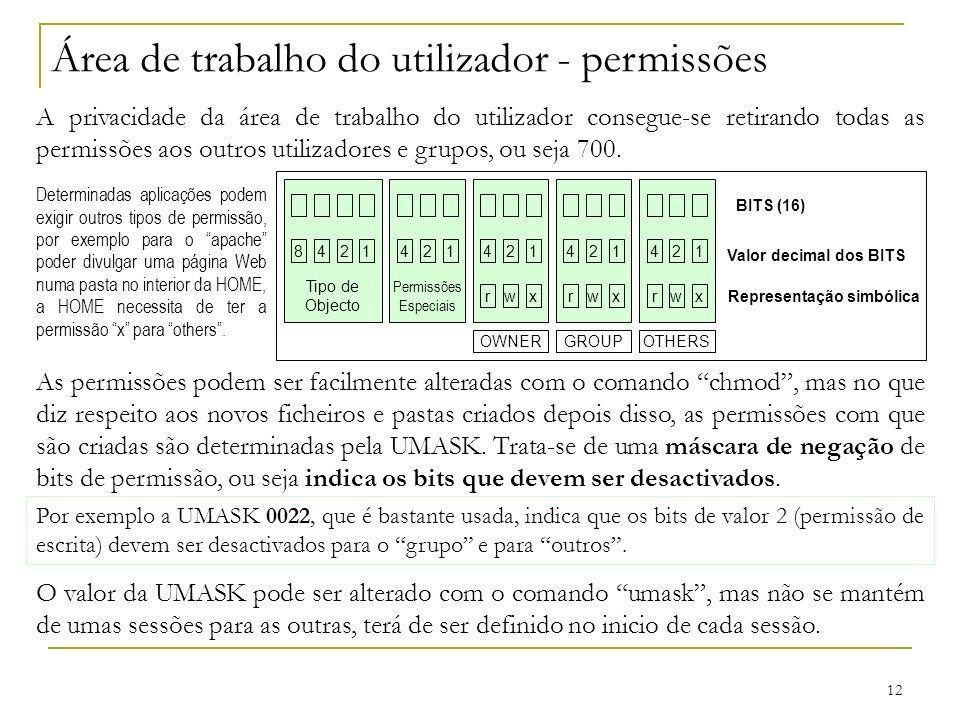12 Área de trabalho do utilizador - permissões A privacidade da área de trabalho do utilizador consegue-se retirando todas as permissões aos outros utilizadores e grupos, ou seja 700.