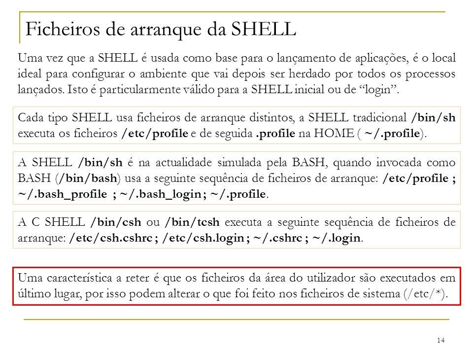 14 Ficheiros de arranque da SHELL Uma vez que a SHELL é usada como base para o lançamento de aplicações, é o local ideal para configurar o ambiente que vai depois ser herdado por todos os processos lançados.