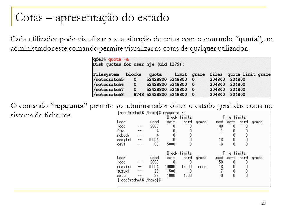 20 Cotas – apresentação do estado Cada utilizador pode visualizar a sua situação de cotas com o comando quota, ao administrador este comando permite visualizar as cotas de qualquer utilizador.