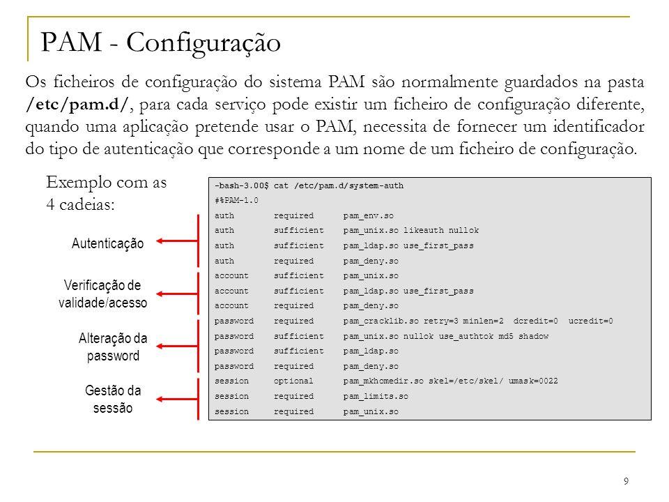 9 PAM - Configuração Os ficheiros de configuração do sistema PAM são normalmente guardados na pasta /etc/pam.d/, para cada serviço pode existir um ficheiro de configuração diferente, quando uma aplicação pretende usar o PAM, necessita de fornecer um identificador do tipo de autenticação que corresponde a um nome de um ficheiro de configuração.
