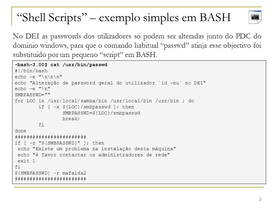 16 Servidores SAMBA - Utilizadores As contas dos utilizadores WINDOWS possuem atributos fundamentais que não existem nas contas UNIX, destacam-se os SID e as passwords cifradas.
