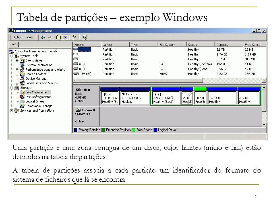 6 Tabela de partições – exemplo Windows Uma partição é uma zona contigua de um disco, cujos limites (início e fim) estão definidos na tabela de partiç