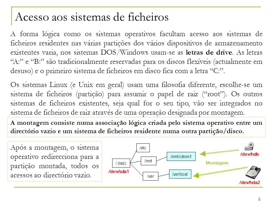 8 Acesso aos sistemas de ficheiros A forma lógica como os sistemas operativos facultam acesso aos sistemas de ficheiros residentes nas várias partições dos vários dispositivos de armazenamento existentes varia, nos sistemas DOS/Windows usam-se as letras de drive.