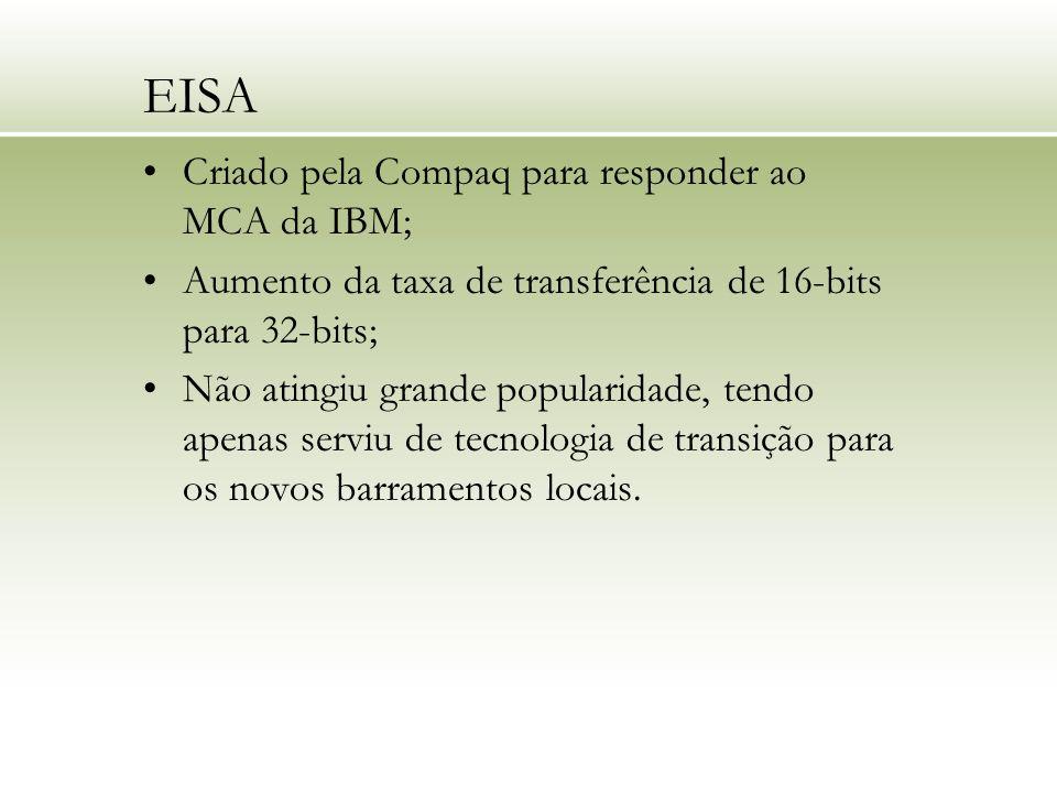 EISA Criado pela Compaq para responder ao MCA da IBM; Aumento da taxa de transferência de 16-bits para 32-bits; Não atingiu grande popularidade, tendo