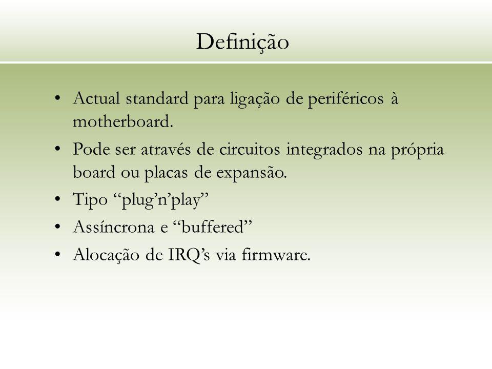 Definição Actual standard para ligação de periféricos à motherboard. Pode ser através de circuitos integrados na própria board ou placas de expansão.