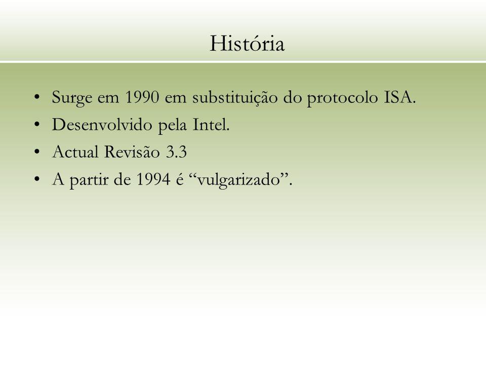 História Surge em 1990 em substituição do protocolo ISA. Desenvolvido pela Intel. Actual Revisão 3.3 A partir de 1994 é vulgarizado.
