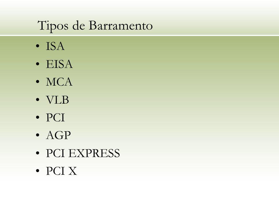Tipos de Barramento ISA EISA MCA VLB PCI AGP PCI EXPRESS PCI X