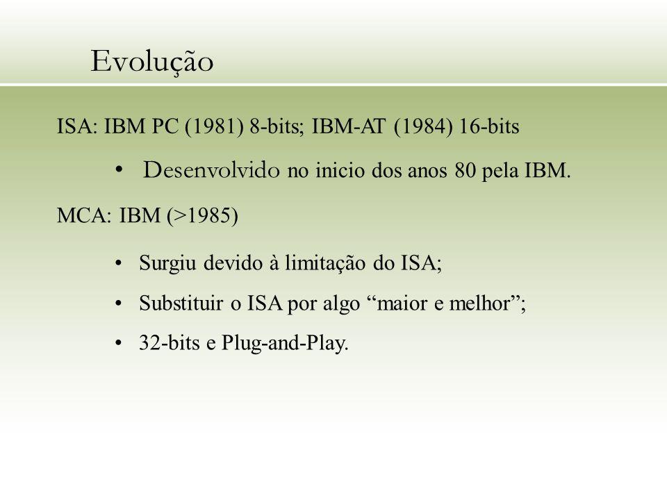 Evolução ISA: IBM PC (1981) 8-bits; IBM-AT (1984) 16-bits Desenvolvido no inicio dos anos 80 pela IBM. MCA: IBM (>1985) Surgiu devido à limitação do I