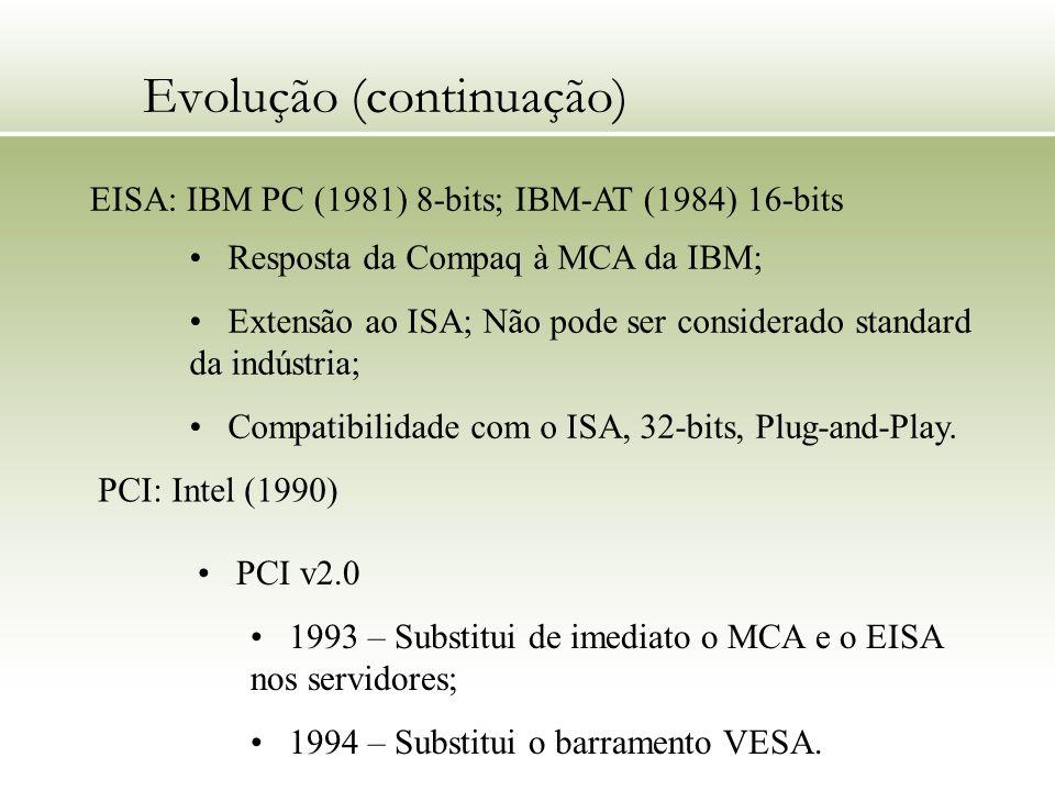 Evolução (continuação) EISA: IBM PC (1981) 8-bits; IBM-AT (1984) 16-bits Resposta da Compaq à MCA da IBM; Extensão ao ISA; Não pode ser considerado st