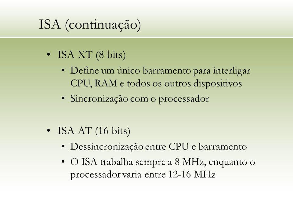 ISA (continuação) ISA XT (8 bits) Define um único barramento para interligar CPU, RAM e todos os outros dispositivos Sincronização com o processador I