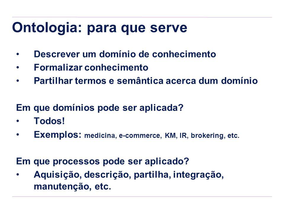 Ontologia: para que serve Descrever um domínio de conhecimento Formalizar conhecimento Partilhar termos e semântica acerca dum domínio Em que domínios