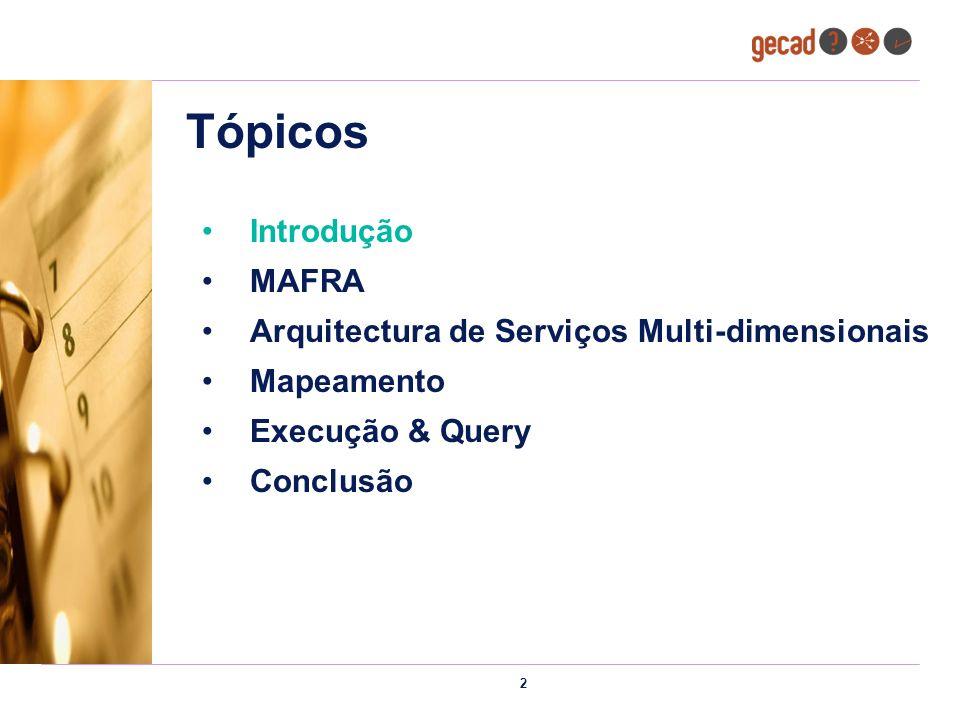 2 Tópicos Introdução MAFRA Arquitectura de Serviços Multi-dimensionais Mapeamento Execução & Query Conclusão