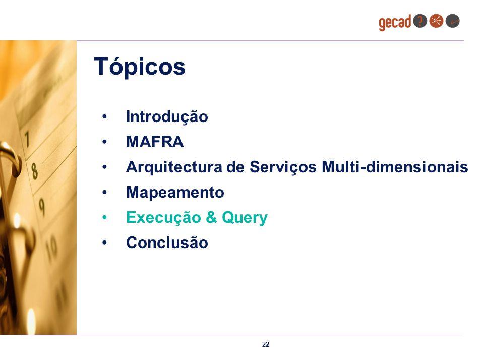 22 Tópicos Introdução MAFRA Arquitectura de Serviços Multi-dimensionais Mapeamento Execução & Query Conclusão
