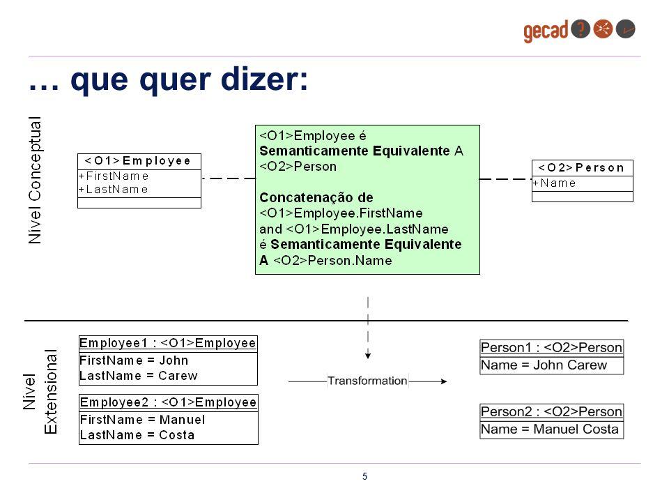 16 Cópia de relações copyRelation(sourceRelation, targetRelation) Mapeamento Manual