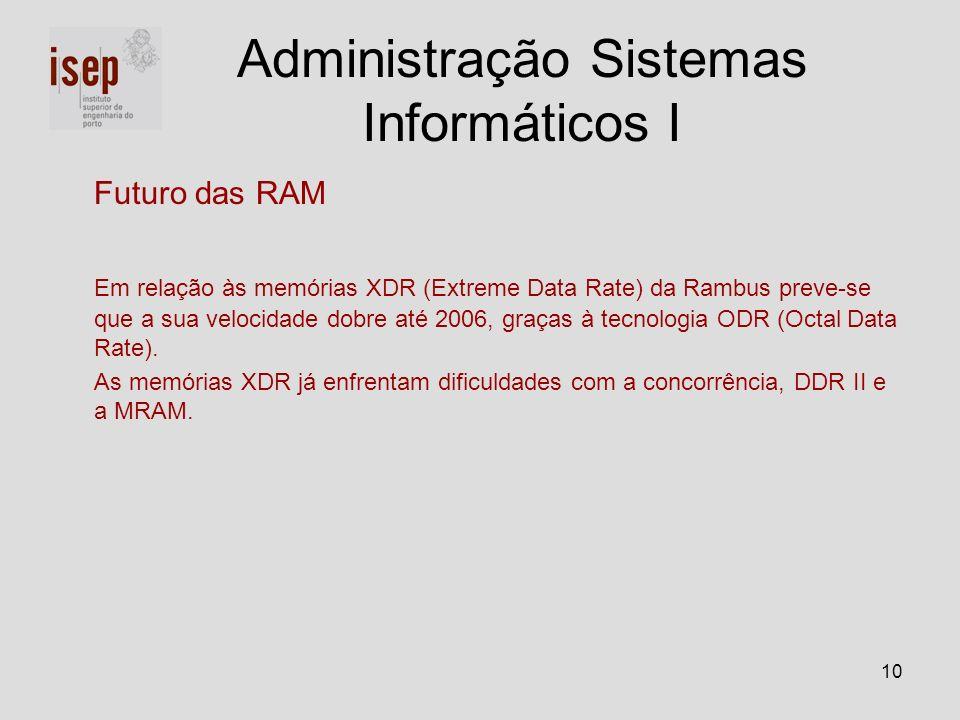 10 Futuro das RAM Em relação às memórias XDR (Extreme Data Rate) da Rambus preve-se que a sua velocidade dobre até 2006, graças à tecnologia ODR (Octa