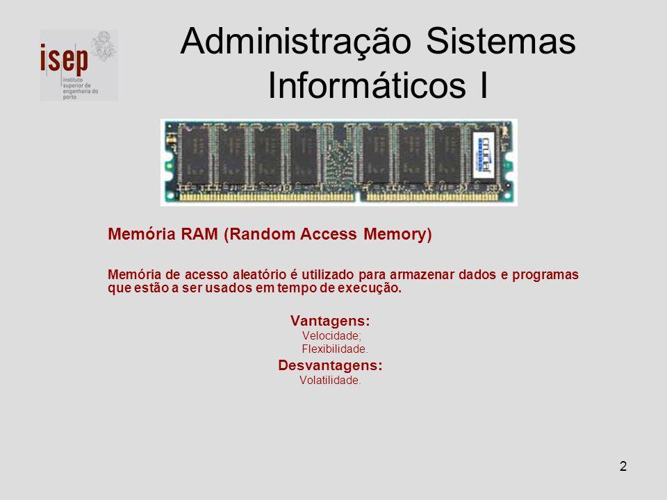 2 Memória RAM (Random Access Memory) Memória de acesso aleatório é utilizado para armazenar dados e programas que estão a ser usados em tempo de execu