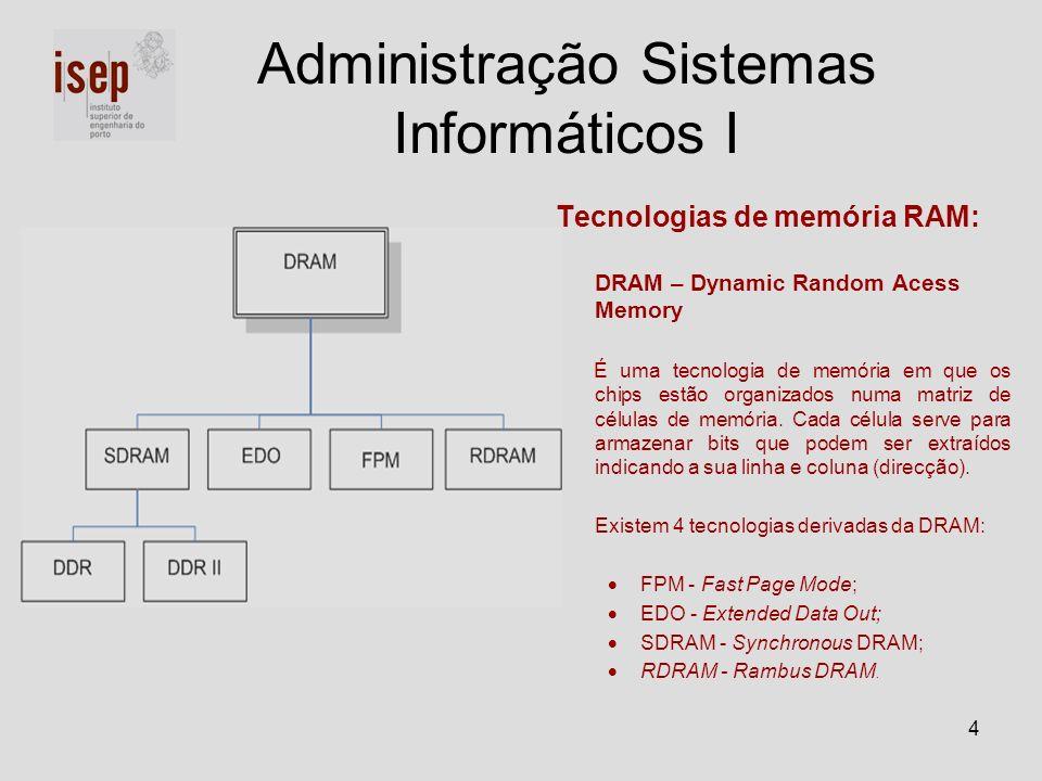 4 Administração Sistemas Informáticos I Tecnologias de memória RAM: DRAM – Dynamic Random Acess Memory É uma tecnologia de memória em que os chips est