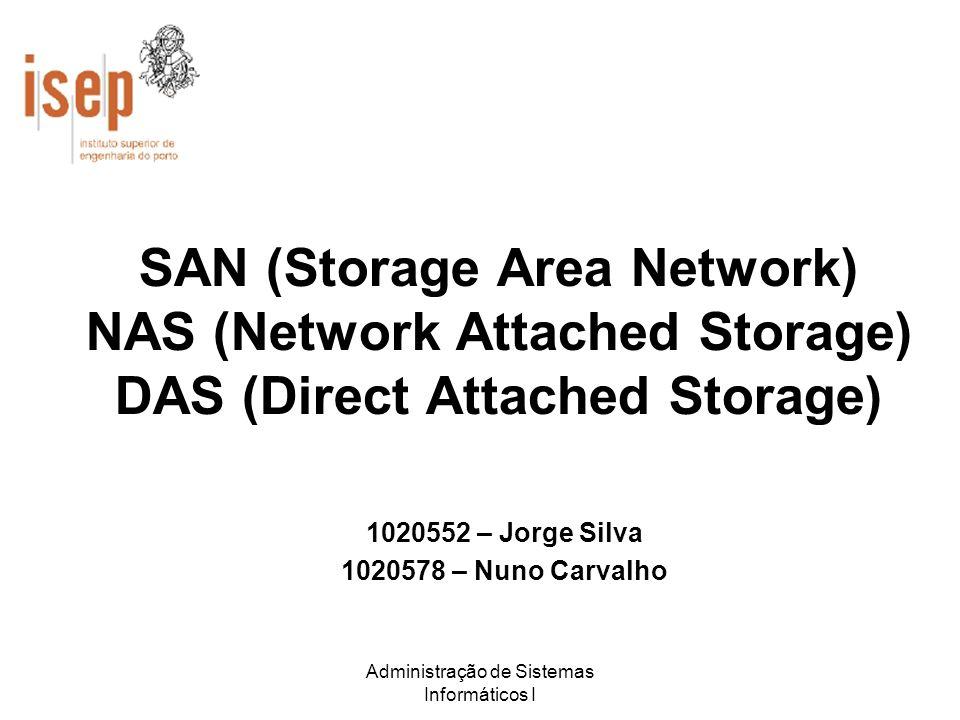 Administração de Sistemas Informáticos I SAN (Storage Area Network) NAS (Network Attached Storage) DAS (Direct Attached Storage) 1020552 – Jorge Silva