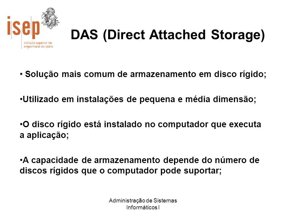 Administração de Sistemas Informáticos I DAS (Direct Attached Storage) Solução mais comum de armazenamento em disco rígido; Utilizado em instalações d
