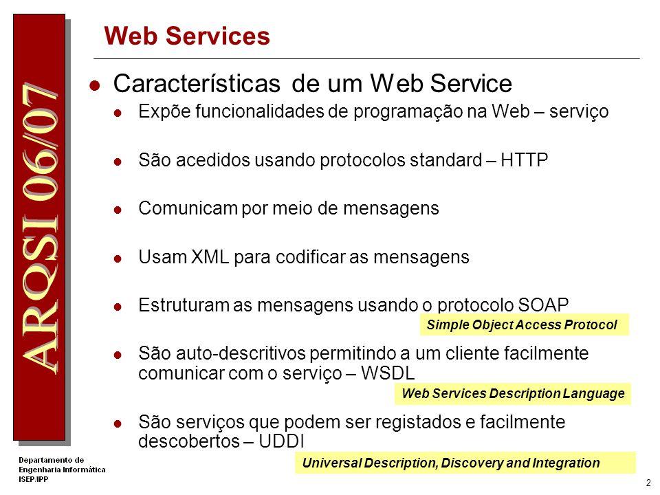 1 Um Web Service é um bloco de software que pode ser acedido pela Internet e usado remotamente por outras aplicações Infra-estrutura para a comunicaçã
