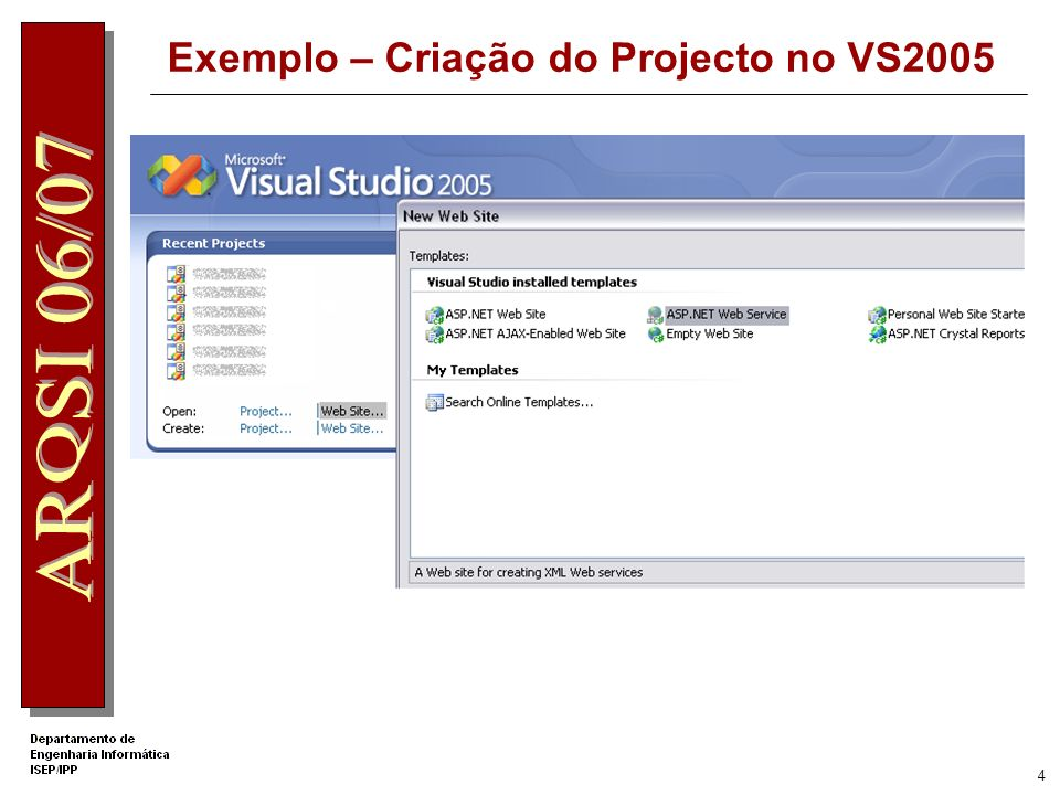 4 Exemplo – Criação do Projecto no VS2005