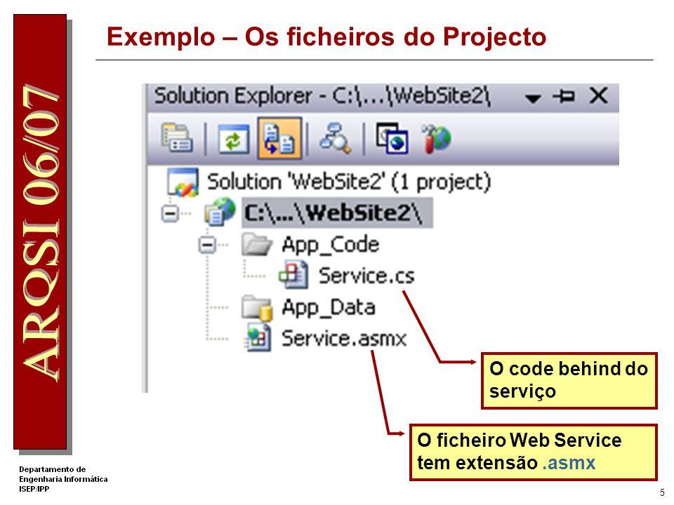 4 Exemplo – Criação do Projecto no VS2005