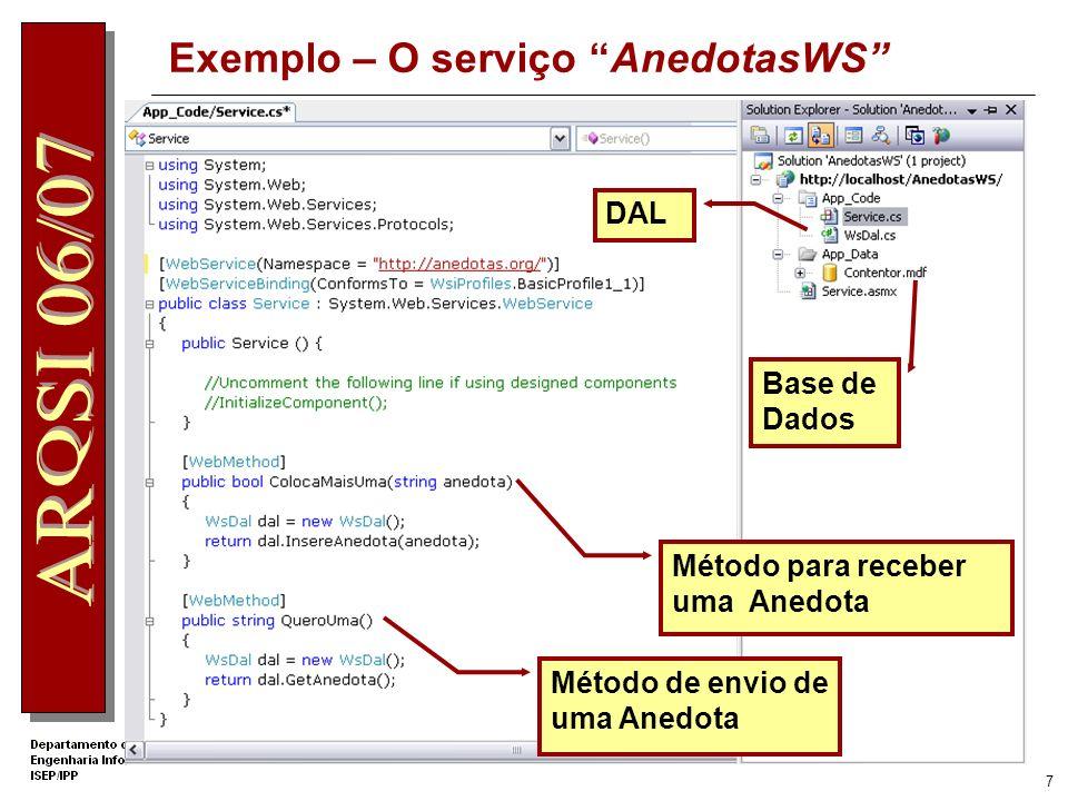 6 Exemplo – O code behind do Web Service Os métodos do serviço têm de ser identificados pelo rótulo [WebMethod] Implementação do método Namespace do s